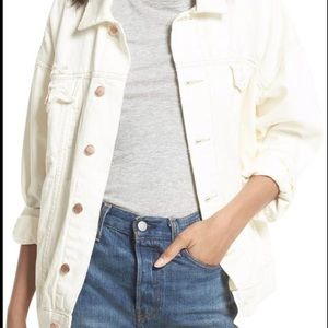 Free People dreaming in white denim jacket